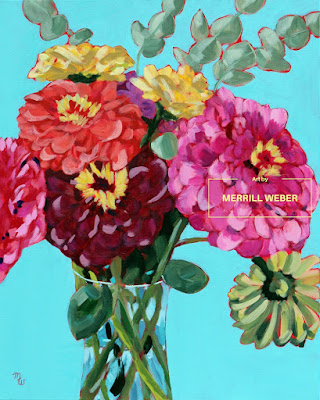 Original acrylic floral painting by Merrill Weber