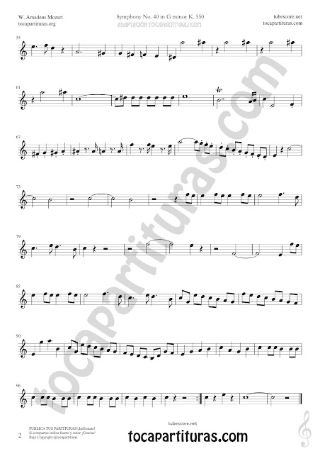 Hoja 1 Clarinete Partitura de Sinfonía Nº 40 Sheet Music for Clarinet Music Score PDF y MIDI aquí  Vídeo