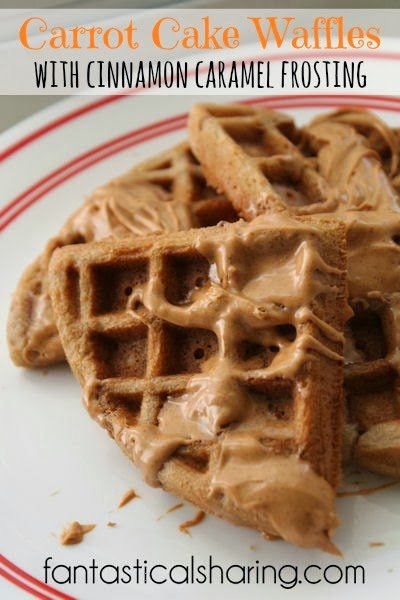 Carrot Cake Waffles with Cinnamon Caramel Frosting   Indulge a little for this sinfully sweet breakfast!