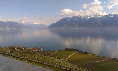 Wspaniała panorama z tarasu restauracji na Jezioro Genewskie i Alpy w tle