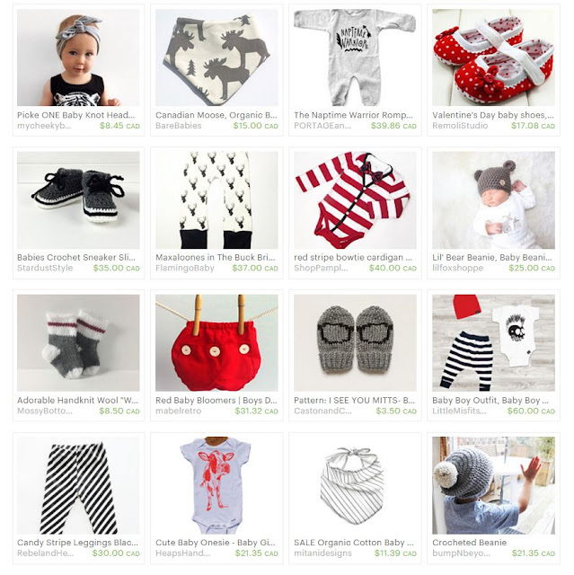 An Etsy Treasury of black, white, and red baby gear. Made in Canada. via www.creativeclementine.com
