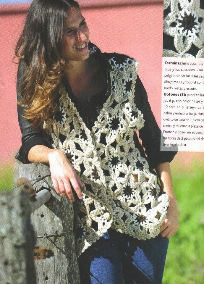 Chaleco Tricot-Crochet Estrellas Flor Patron