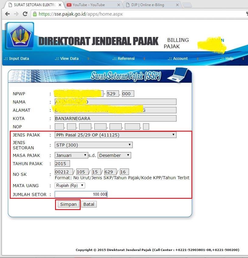 Bayar - Membuat ID Billing atas Surat Tagihan Pajak atau