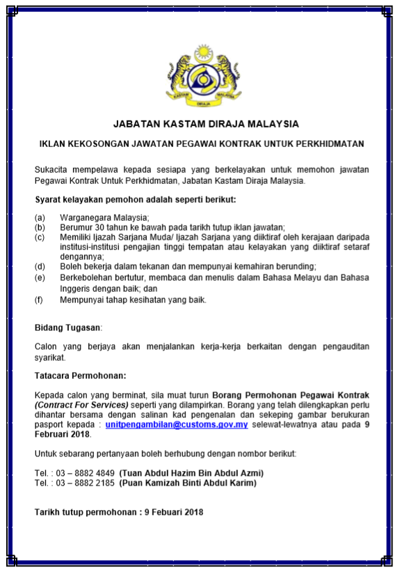 jawatan kosong kerajaan di jabatan kastam diraja malaysia