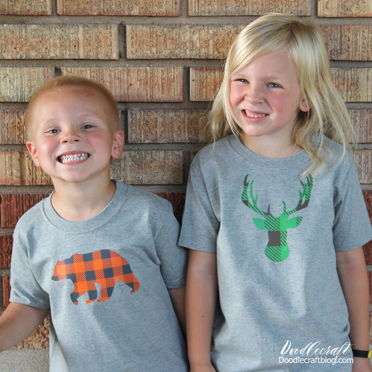 Free image downloads for buffalo plaid deer head or bear silhouettes perfect for shirts using Cricut maker + EasyPress 2.
