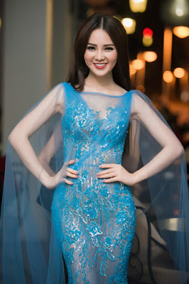 Thụy Vân - Seductive in blue mermaid dresses