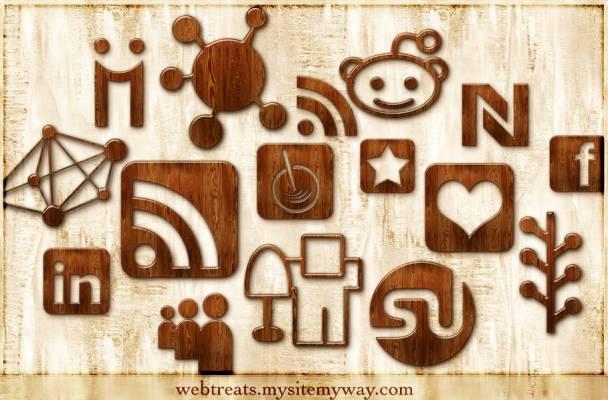 iconos madera png de redes sociales