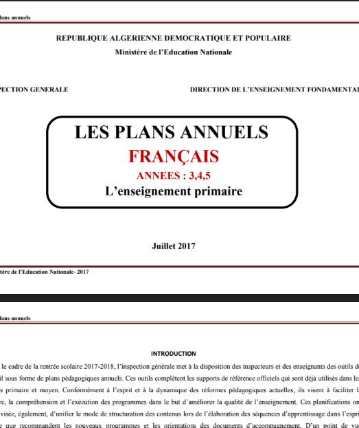 Les plans annuels Français 3AP-4AP-5AP 2019