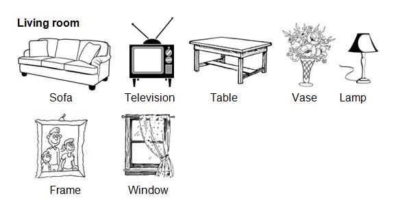 Pada kesempatan kali ini kami akan membahas vocabulary  Kosakata 'Things in the Living Room' dan Contoh Kalimatnya
