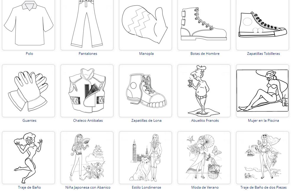 El Blog De Yolanda Dibujos De Ropa Y Calzado Para Colorear