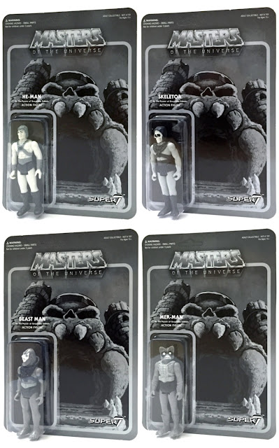 "New York Comic Con 2015 Exclusive ""By The Power of Grayscale!"" Edition Masters of the Universe Retro Black & White Action Figures by Super7 x Mattel – He-Man, Skeletor, Beastman & Mer-Man"