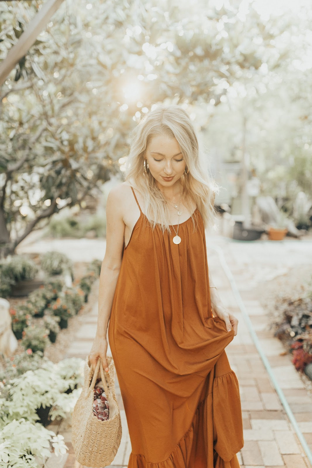 Tuscany vibes // burnt orange/brown loose dress