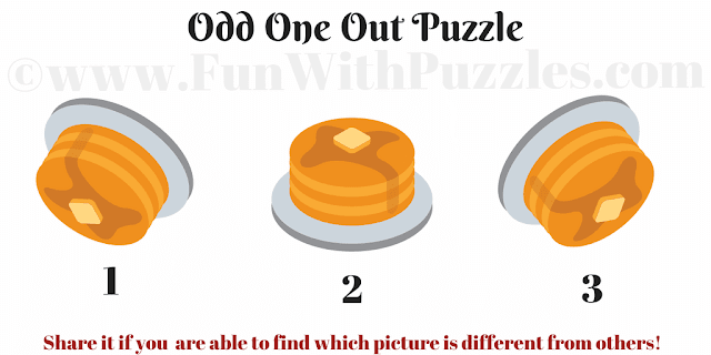 In this Odd One Out Puzzle your challenge is to the pudding which is different from other two pictures
