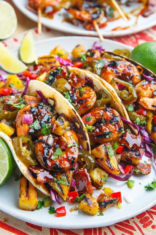 Teriyaki Grilled Shrimp and Pineapple Tacos with Candied Jalapeno and Bacon