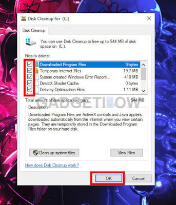 menghapus cache menggunakan disk cleanup