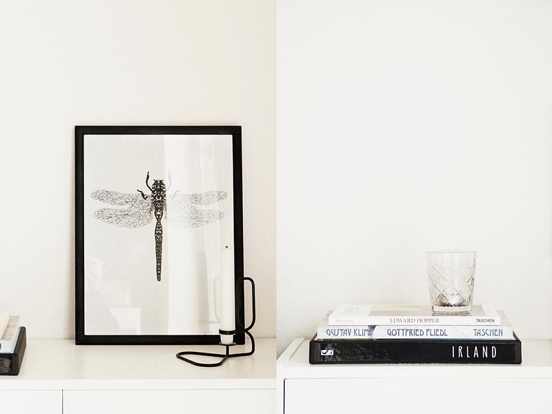 Skandinavisch minimalistisch dekorieren in schwarz-weiß mit Bildbänden, DIY Libellen-Print und Kerzenständer für den Februar