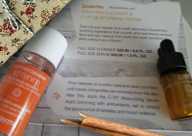 Sensyses Cleanser & C-Vit Moisturizing Serum in septembers glossy box by barbies beauty bits