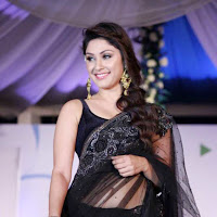 gloamorous and ideal sexy Manjari hot in black saree