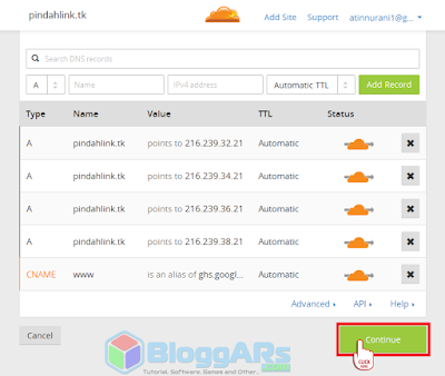 Scan DNS Records website di Cloudflare