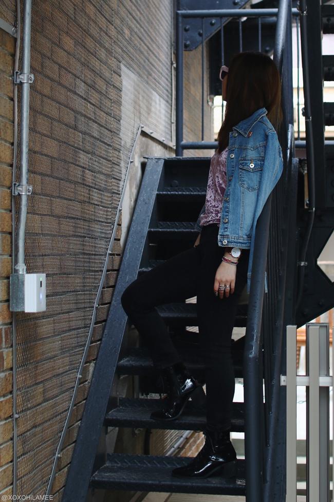 日本人ファッションブロガー,Mizuho K,今日のコーディネート,20170408,カジュアルストリートスタイル, ChicMe-ピンクベロアTシャツ,UNIQLO ユニクロ-ブラックスキニーパンツ,CHOIES-ブラックエナメルレースアップブーツ, アフリカタロウ-ジーンズジャケット,zeroUV-ピンクサングラス,Andreas Ingeman-腕時計,Bando-HOT TUB CLUB ハートピンズ,指輪 ring and things-ネイルリング,DIY-ミサンガ,グレーバッグ-ALLSaints オールセインツ from SHOPSTYLE ショップスタイル