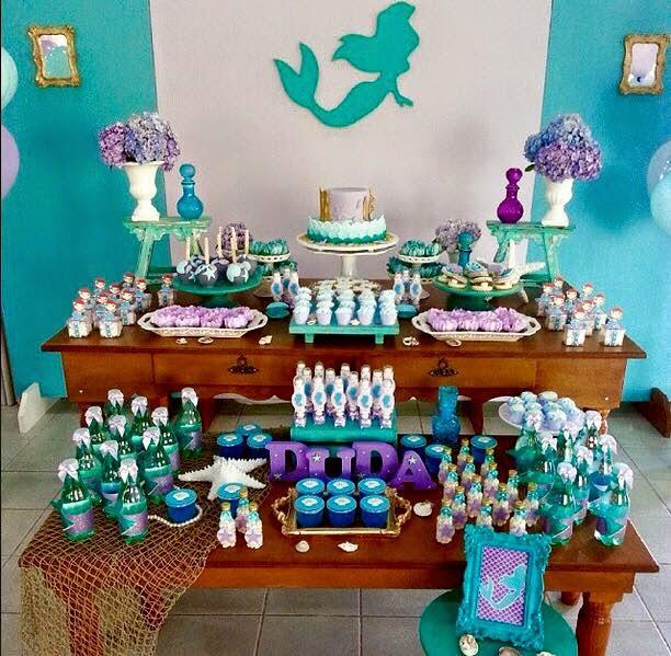 Tudo simples e decorado festa ariel - Peceras pequenas decoradas ...