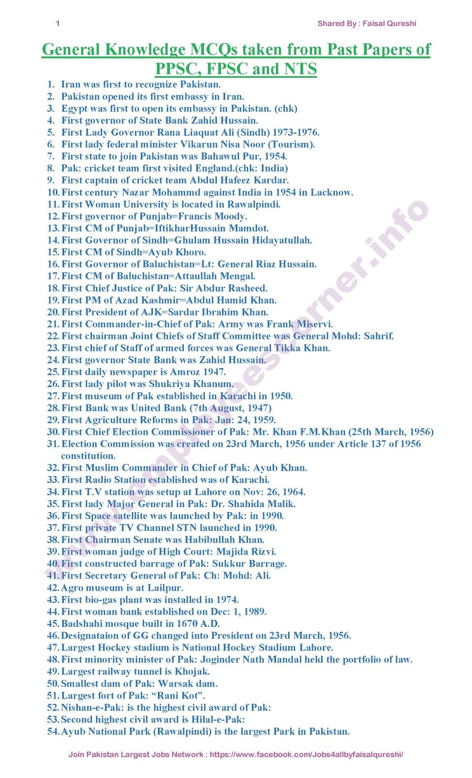 Pakistan General Knowledge MCQs Solved from Past Papers of PPSC