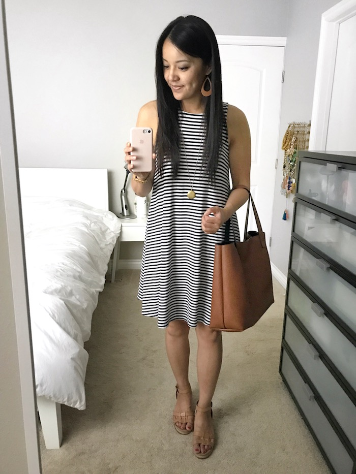 striped tank swing dress + cognac and gold accessories