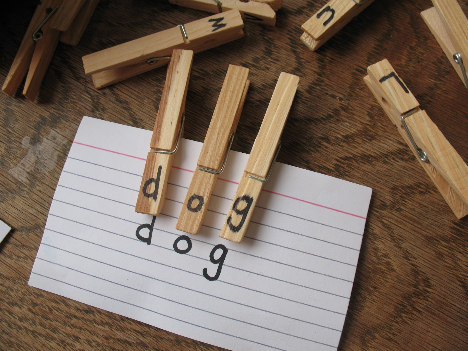 Practically Homemade Clothespin Letter Match