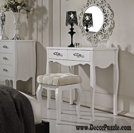 luxury modern white dressing table designs with mirror and lighting