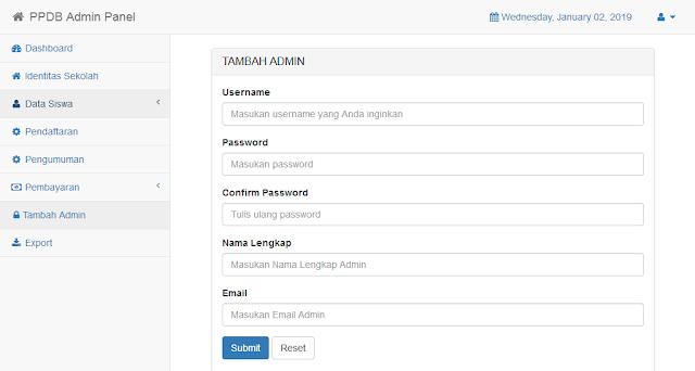 halaman tambah admin aplikasi ppdb online