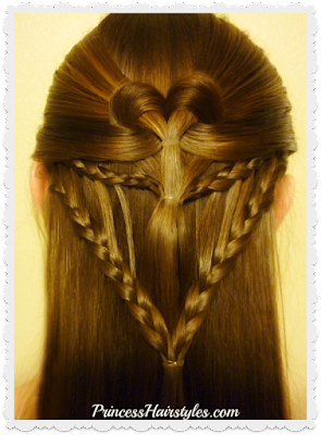 Cute heart hairstyle for Valentines Day. Video instructions.