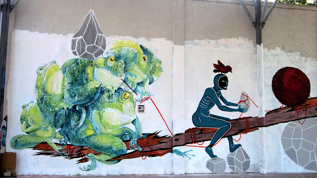 New Street Art Collaboration by Ericailcane, Bastardilla, Andreco, Hitness and Alleg on the streets of Rome, Italy. 5