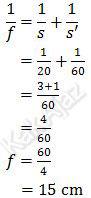Cara menentukan jarak fokus cermin cekung, 1/f=1/s+1/s', dengan s=20 cm dan s'=60 cm