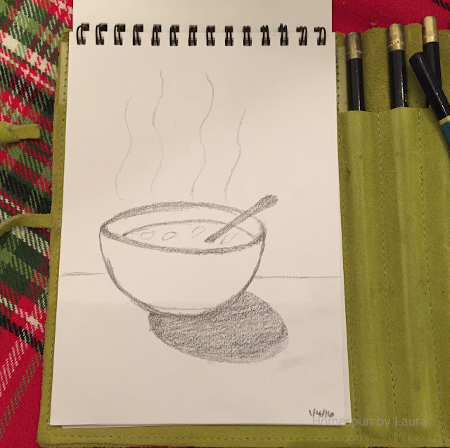 homespun by laura daily doodle bowl of soup pencil sketch sketchbook