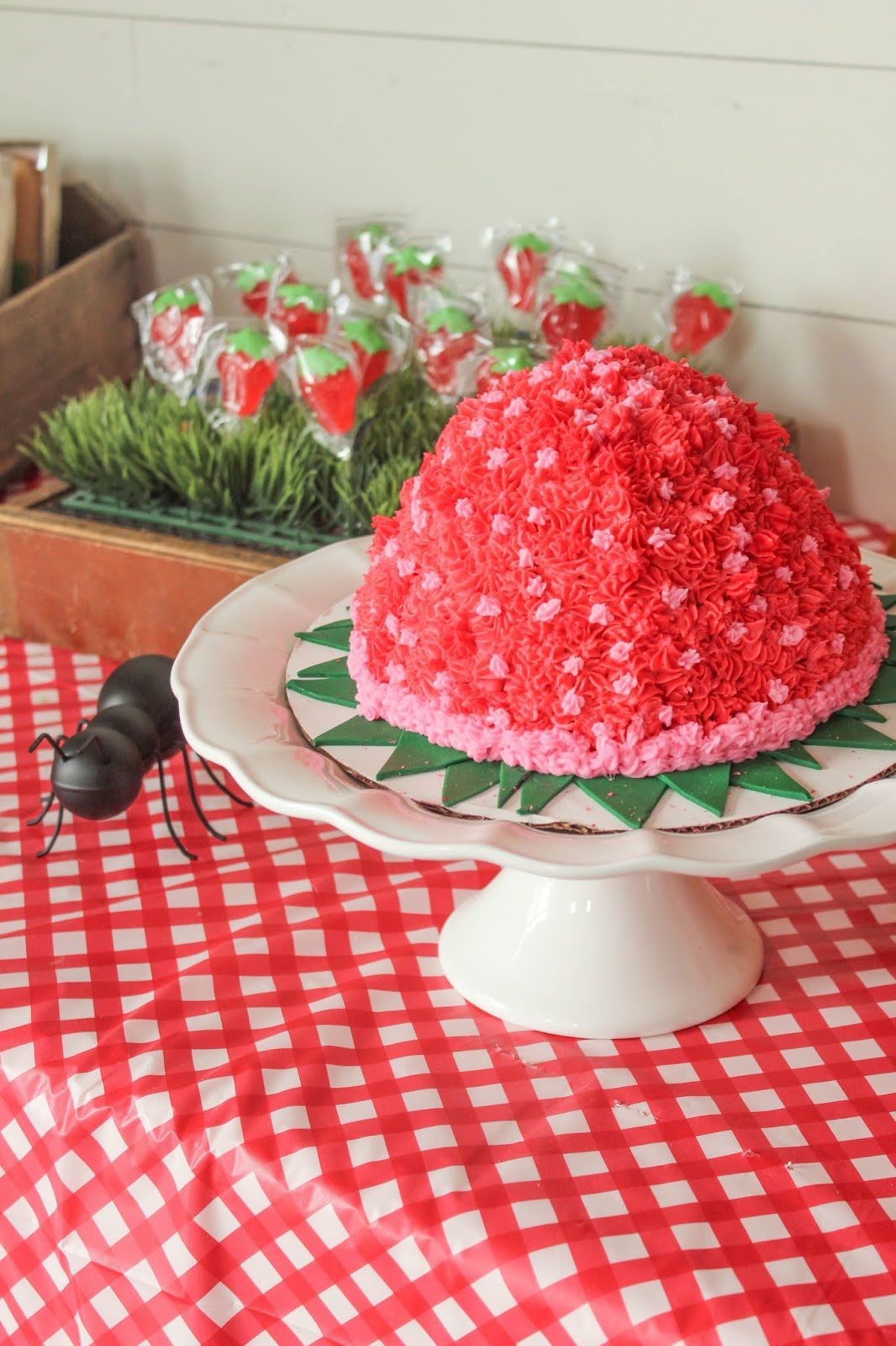 strawberry themed birthday cake