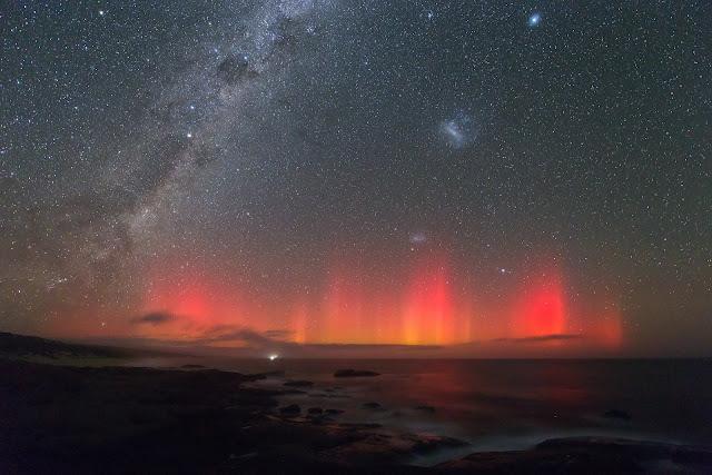 Aurora, Milky Way Galaxy, Large Magellanic Cloud Galaxy and Small Magellanic Cloud Galaxy seen over Australia