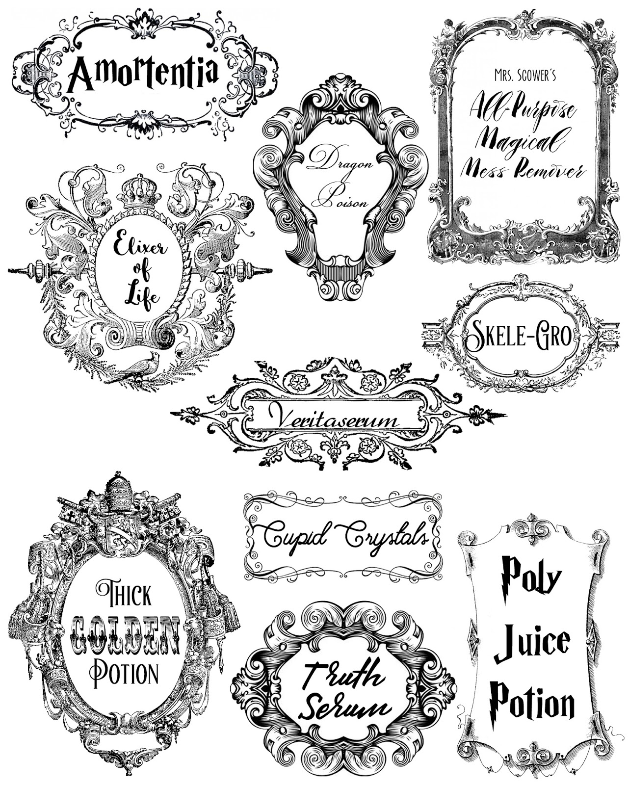 graphic relating to Printable Harry Potter Potion Labels known as Potions and Contaminants!