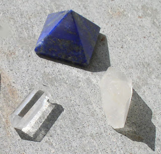 crystal stones sunbathing
