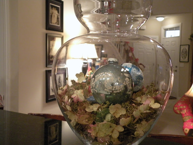 Hydrangeas, and vintage Christmas ornaments at Chickadee Home Nest