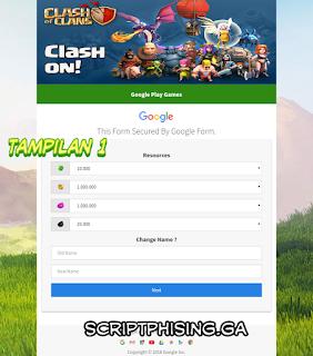 Demo 1 Script Phising COC Sendmail Tampilan Google