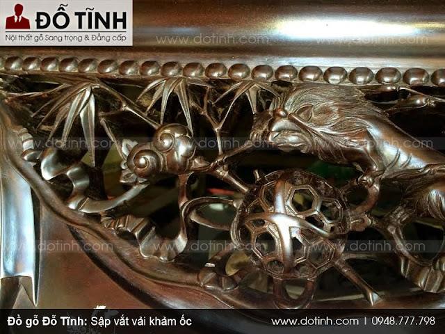 Sập vắt vải khảm ốc - Các kiểu sập gỗ phòng khách