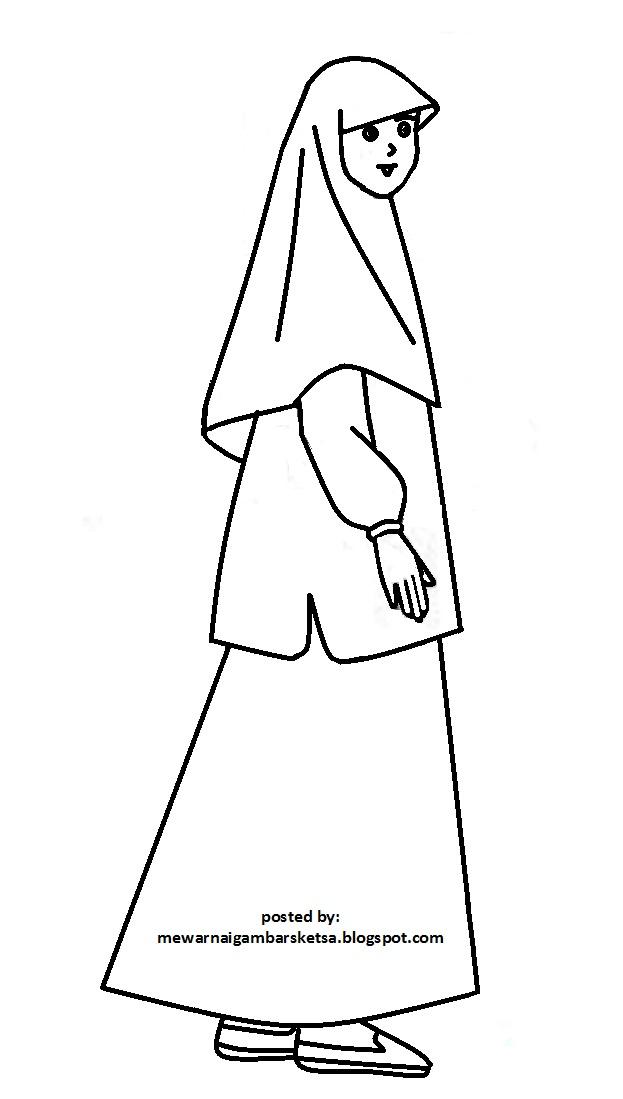 Mewarnai Gambar Sketsa Kartun Anak Muslimah 105 Muslim Download Wanita