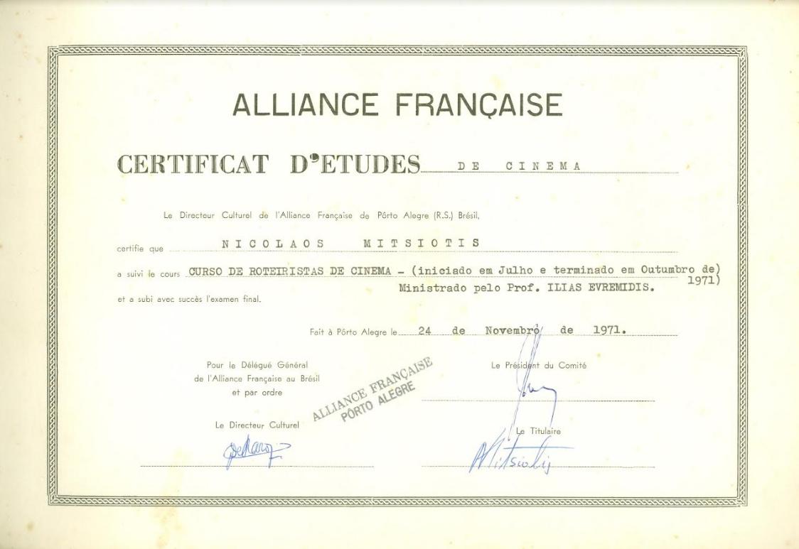 Diploma de roteirista de cinema de Nikolaos. Foto: acervo Nikolaos Argyrios Mitsiotis