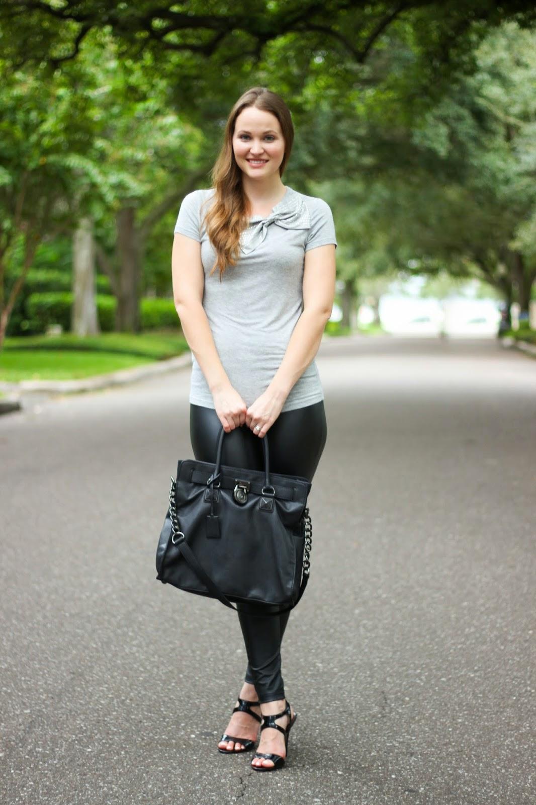 ede7b4ad858f29 (bow tee: Forever 21; faux leather leggings: Hue; bag: Hamilton by Michael  Kors; black patent heels: Steve Madden)