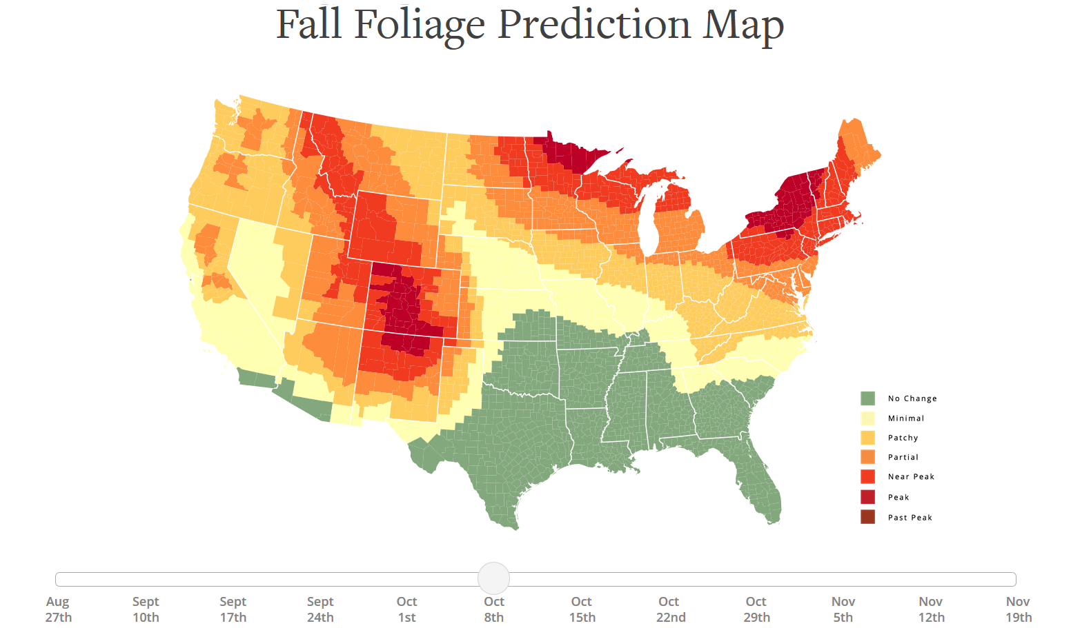 the united states and like to see the leaves changing at this time of year you might want to check out the fun interactive fall foliage prediction map