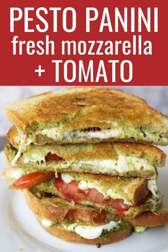 Pesto Panini with Fresh Mozzarella and Tomato