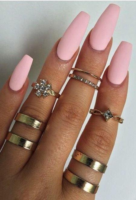 matte pink nail design idea