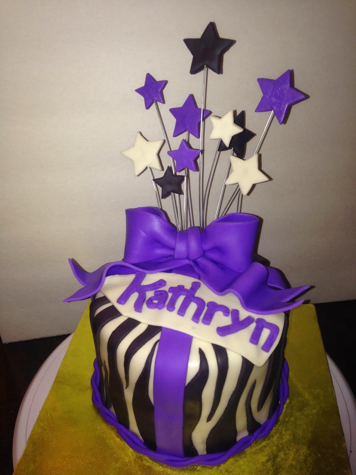 Joyce Gourmet Zebra Birthday Cake With A Lavender Ribbon