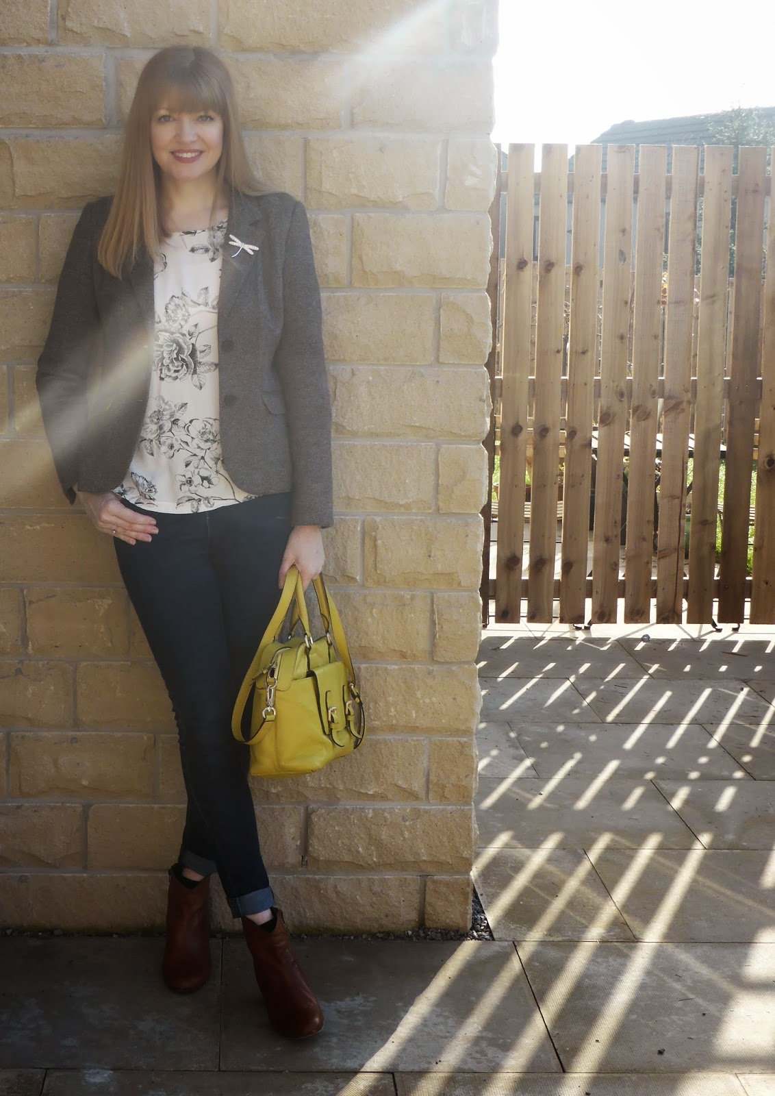 Joules Henford jersey tweed jacket, joules bee breton top, tan leather boots, yellow leather bowling bag