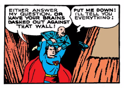 Action Comics (1938) #23 Page 5 Panel 2: Superman threatens one of Luthor's henchmen with dashing his brains out if he doesn't talk.